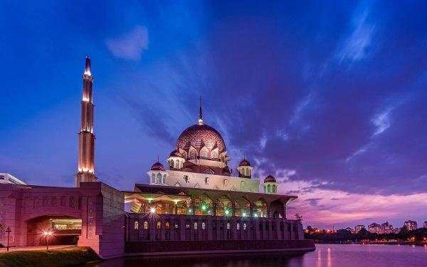 Man Made Building Buildings Mosque Putrajaya Indonesia Night Putra Mosque HD Wallpaper   Background Image