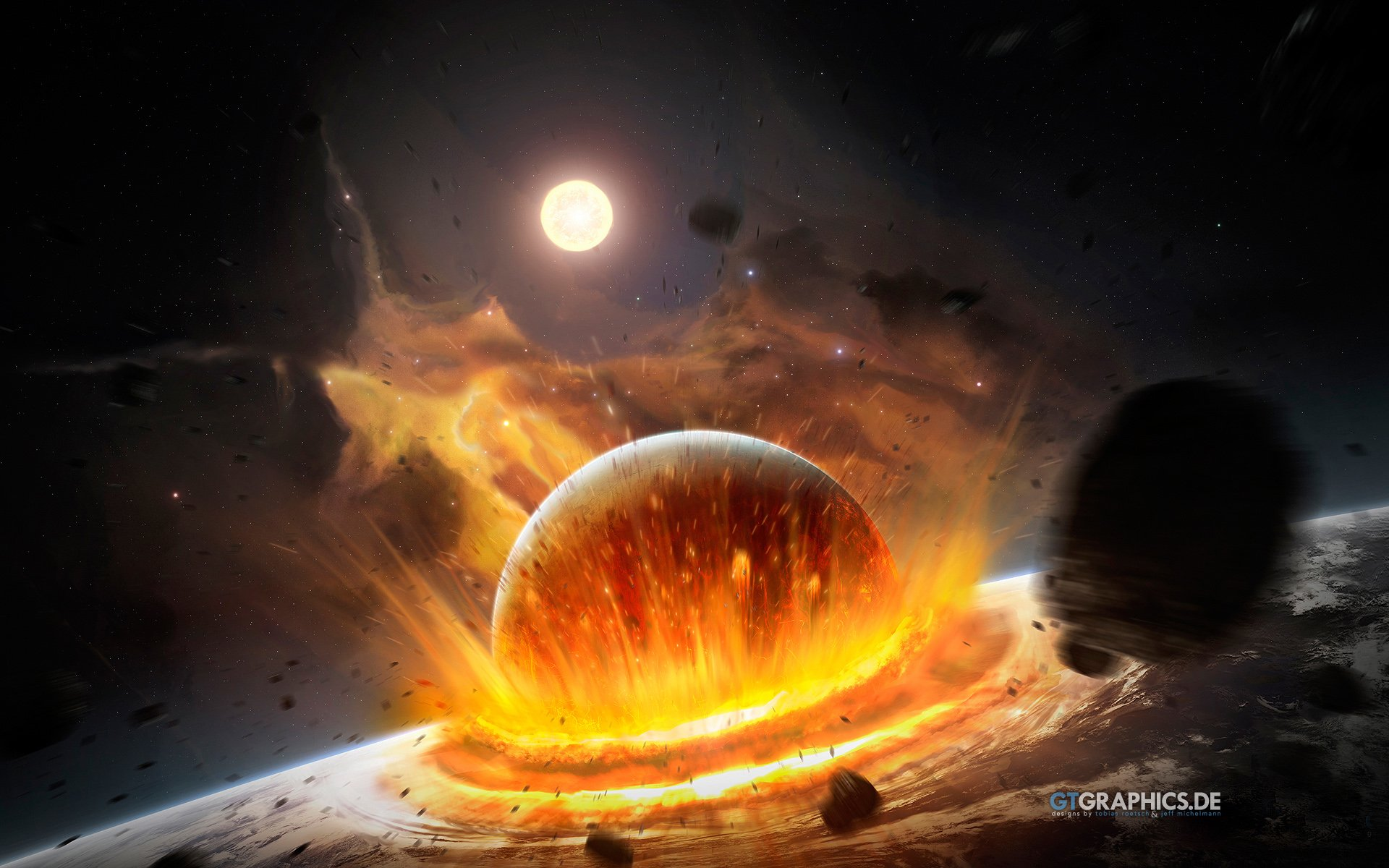 Sci Fi - Collision  Sci Fi Explosion Planet Moon Asteroid Wallpaper