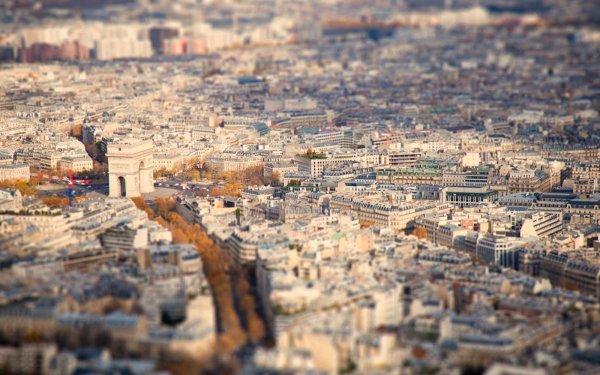 Man Made Paris Cities France Arc de Triomphe Tilt Shift HD Wallpaper | Background Image