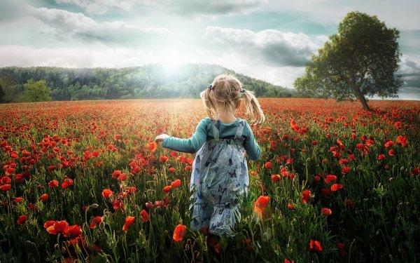Fotografía Niño Chica Little Girl Running Campo Amapola Fondo de pantalla HD | Fondo de Escritorio