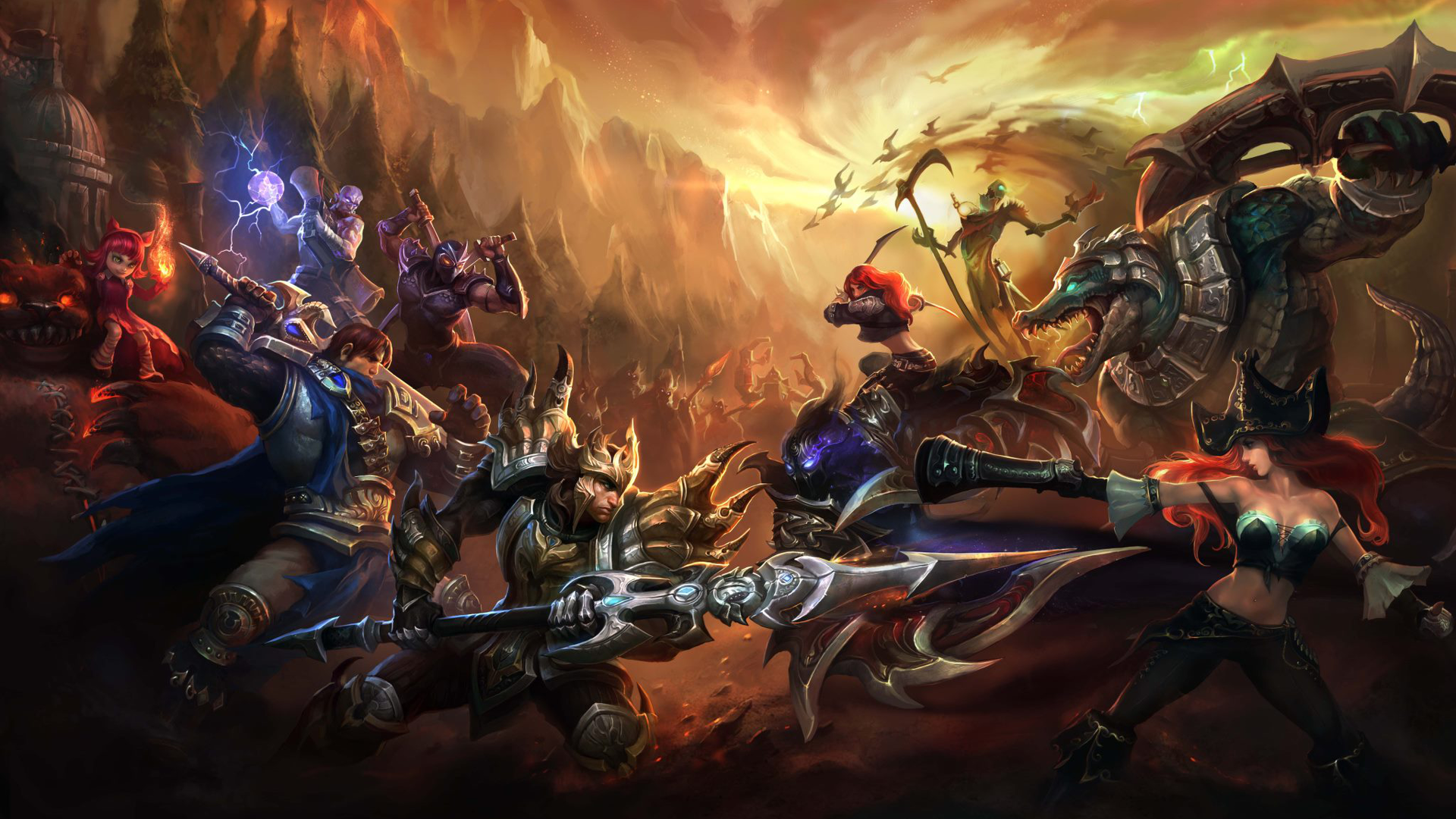Video Game - League Of Legends  Miss Fortune (League Of Legends) Renekton (League Of Legends) Katarina (League Of Legends) Fiddlesticks (League Of Legends) Jarvan IV (League Of Legends) Nocturne (League of Legends) Garen (League Of Legends) Tibbers (League Of Legends) Annie (League Of Legends) Ryze (League Of Legends) Wallpaper