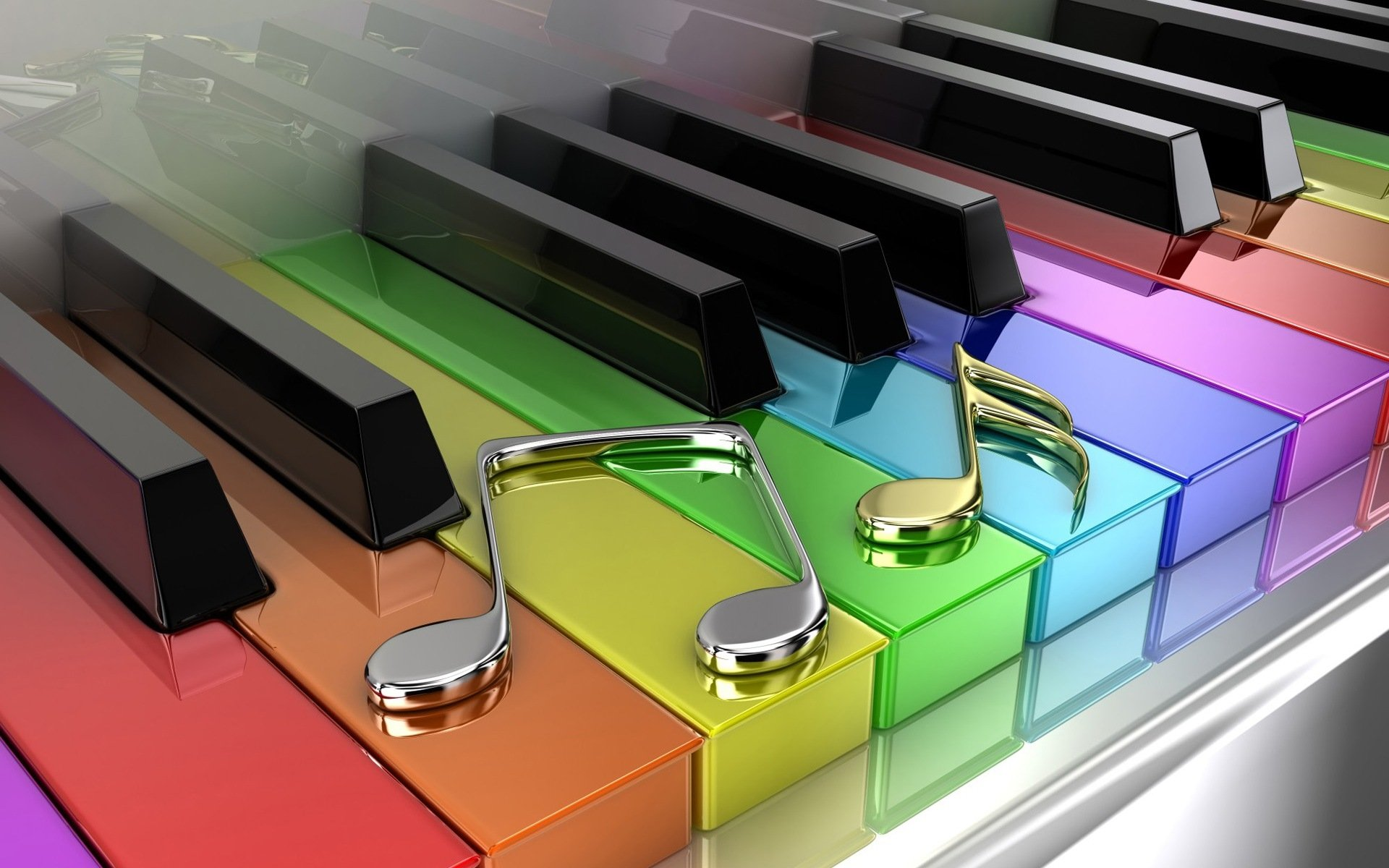Piano Music Wallpaper: Rainbow Colored Piano Keys HD Wallpaper