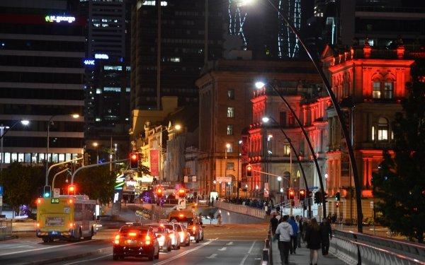 Man Made Brisbane Cities Australia Night City Building Light Car People Road Bus HD Wallpaper | Background Image