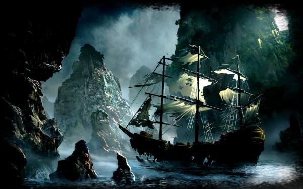 Fantaisie Navire Voilier Pierre Fond d'écran HD | Image