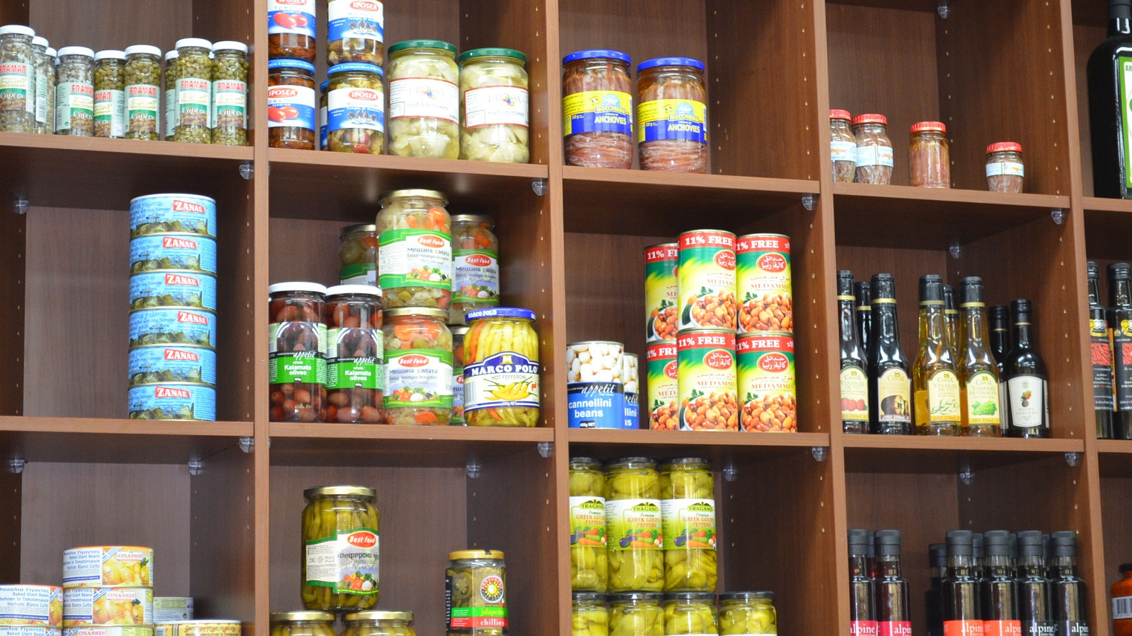 Food on a shop shelf wallpaper and background image for Wallpaper retailers