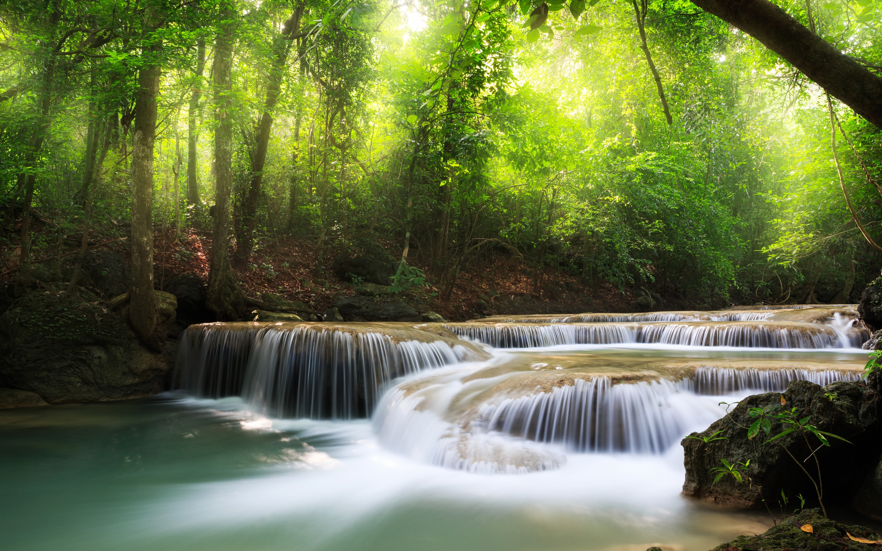 Small waterfall in the forest wallpaper - 1072411