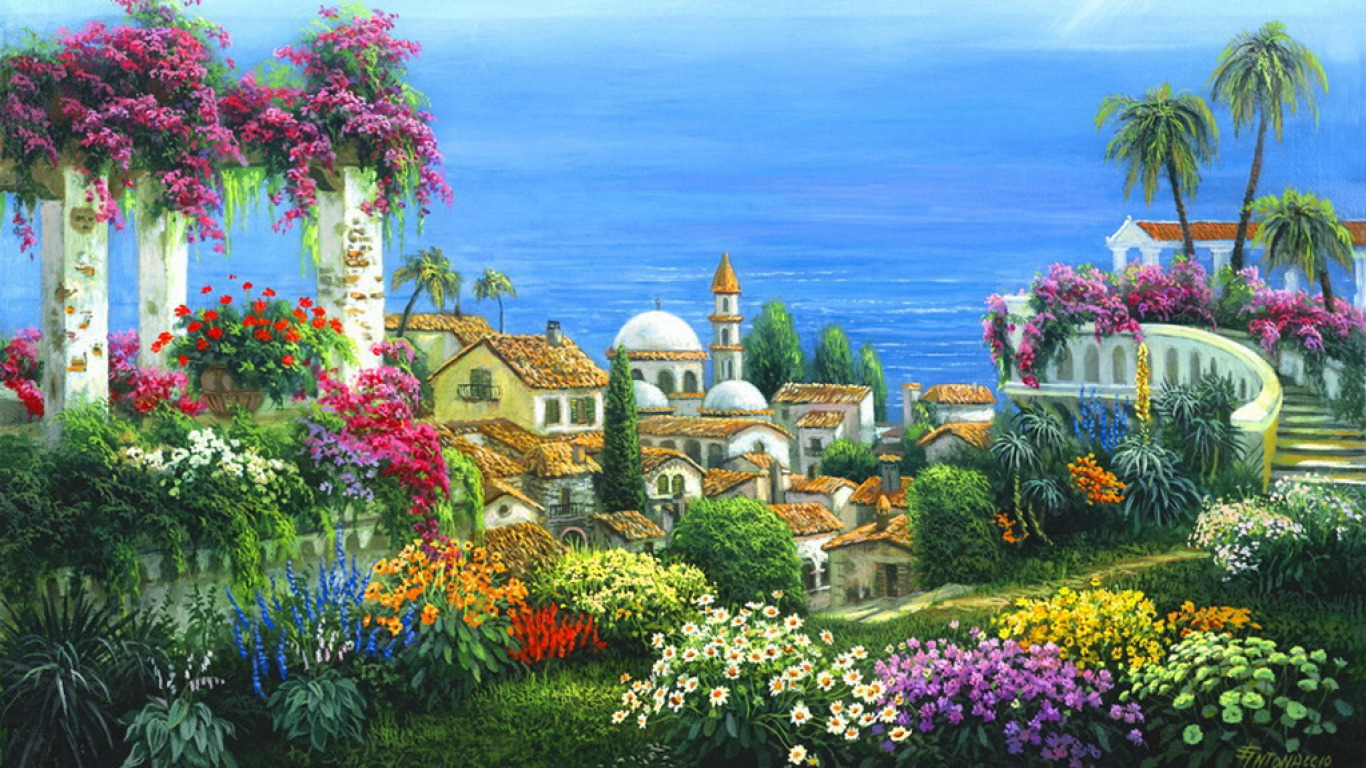 Seaside village wallpaper and background image 1366x768 - Art village wallpaper ...