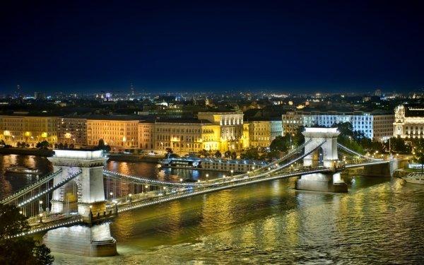 Man Made Budapest Cities Hungary Chain Bridge HD Wallpaper | Background Image