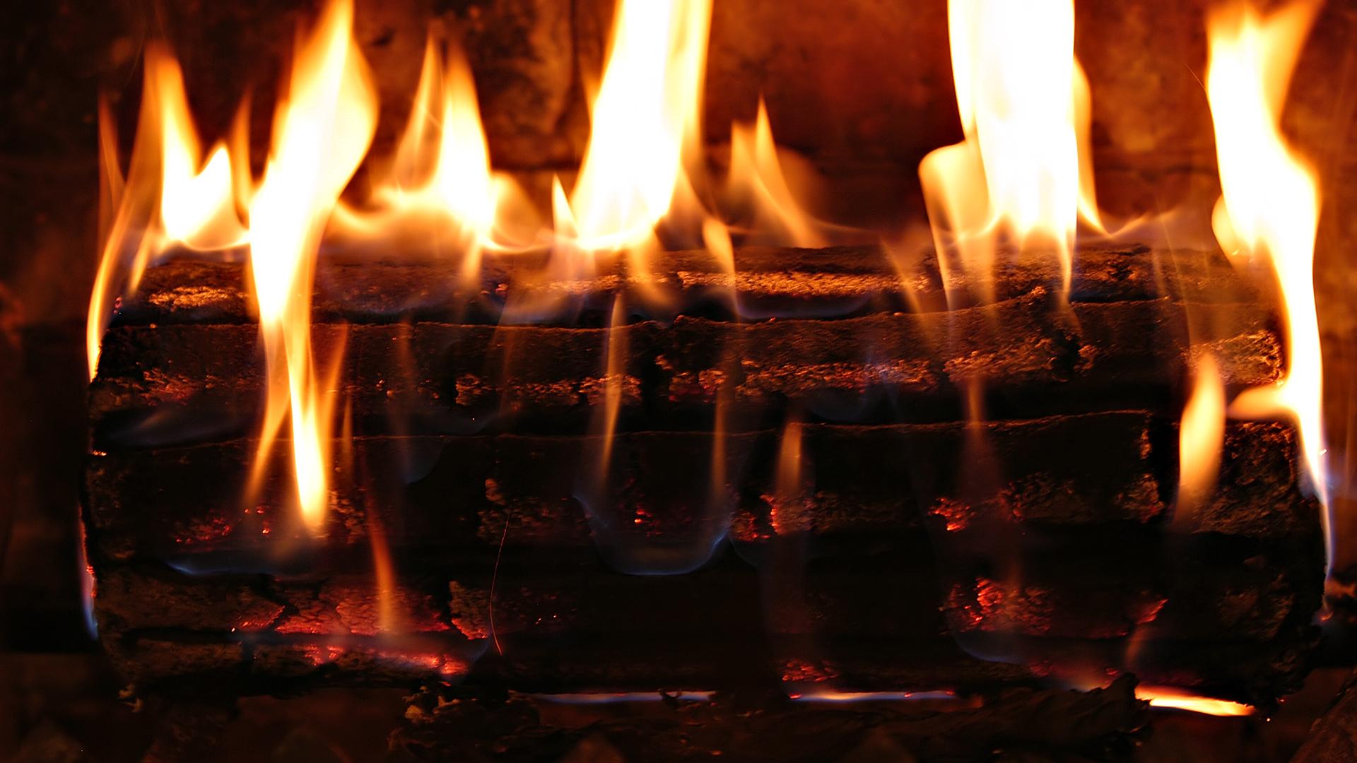 fond d'ecran anime feu de cheminee