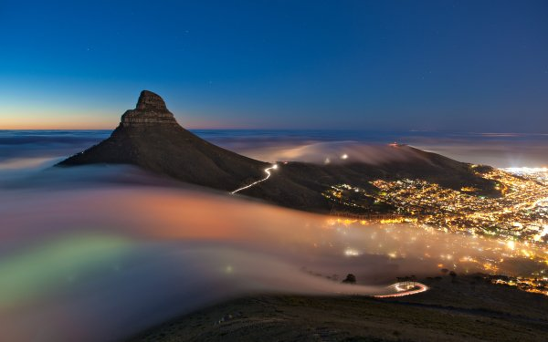 Man Made Cape Town Cities South Africa City Mountain Fog Night Light HD Wallpaper   Background Image