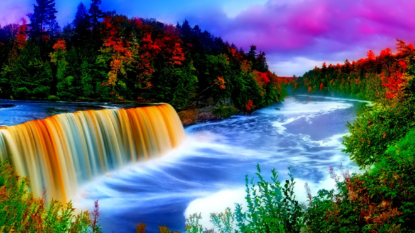 Rainbow Waterfall Wallpaper and Background | 1366x768 | ID ...