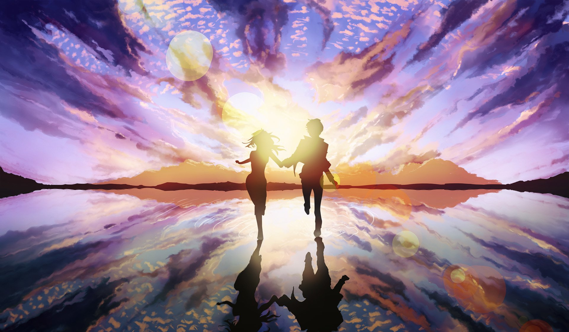 Anime - Original  Girl Boy Couple Sunset Original (Anime) Anime Wallpaper