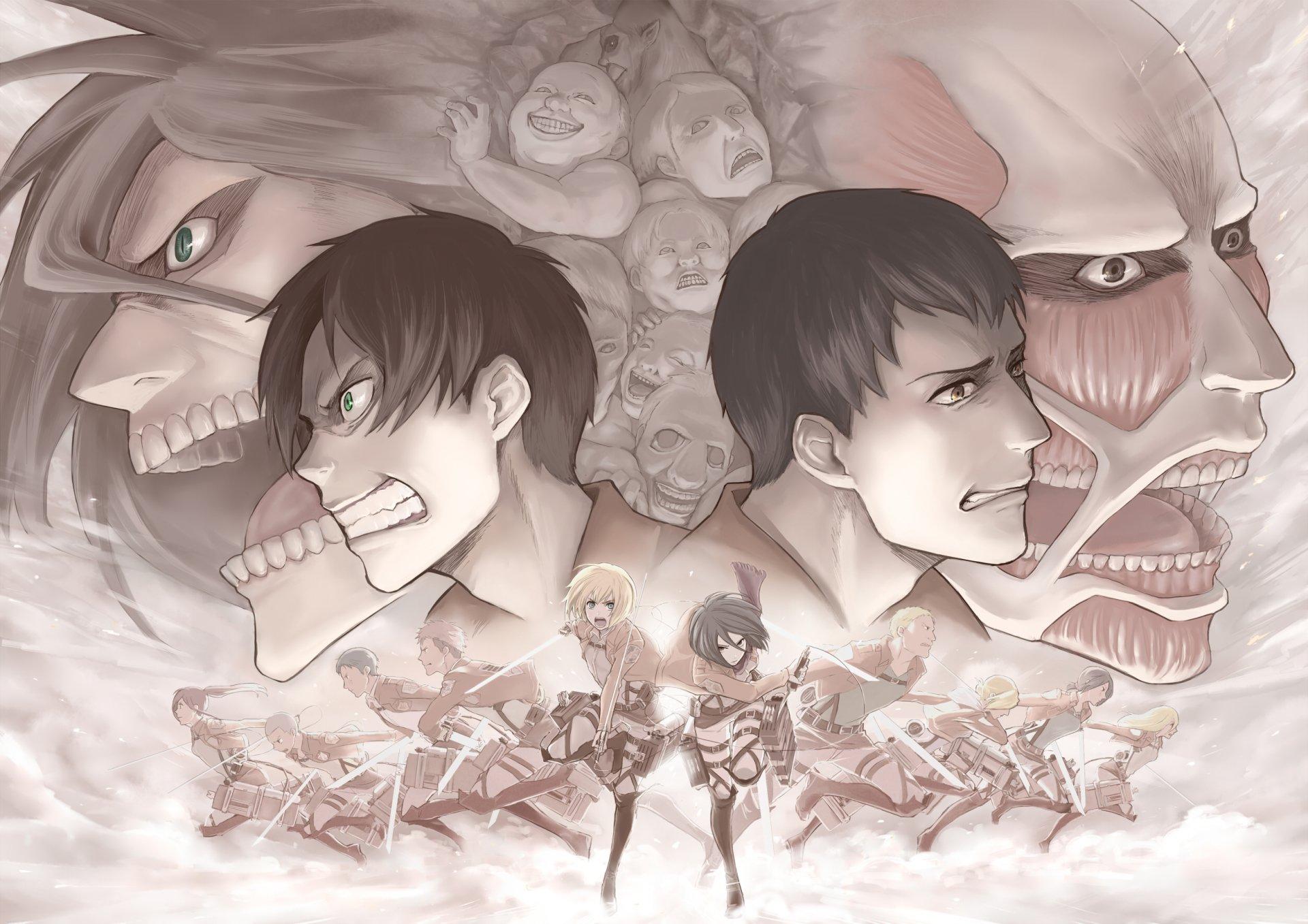 Anime - Attack On Titan  Reiner Braun Mikasa Ackerman Jean Kirstein Eren Yeager Historia Reiss Bertholdt Fubar Armin Arlert Annie Leonhart Wallpaper