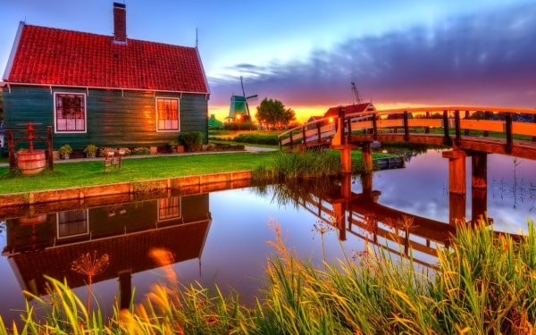 Photography HDR House Windmill Bridge HD Wallpaper | Background Image