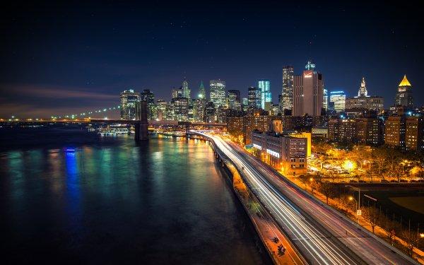 Man Made Manhattan Cities United States New York Brooklyn Bridge HD Wallpaper | Background Image