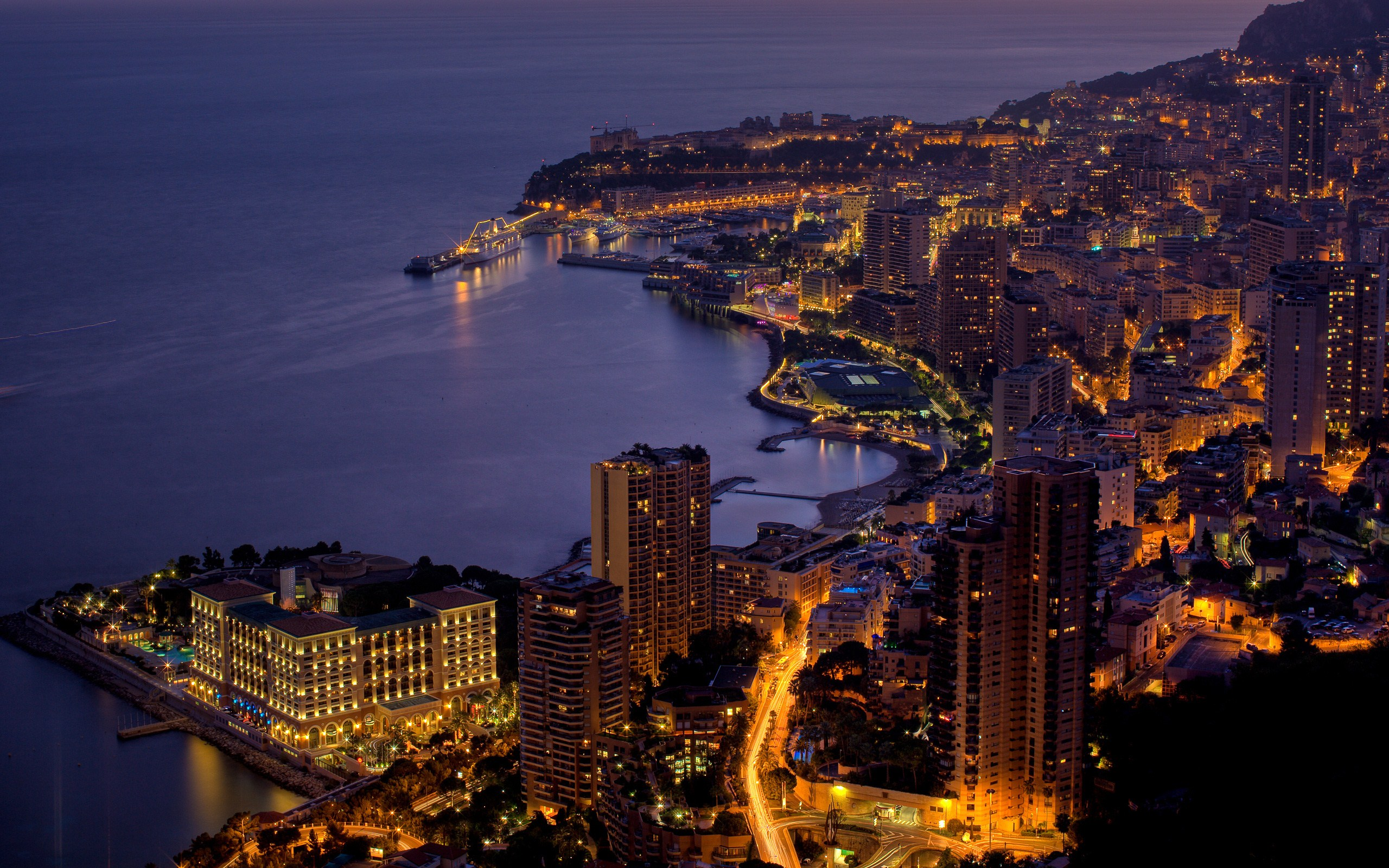 Monaco Night Full HD Wallpaper And Background Image