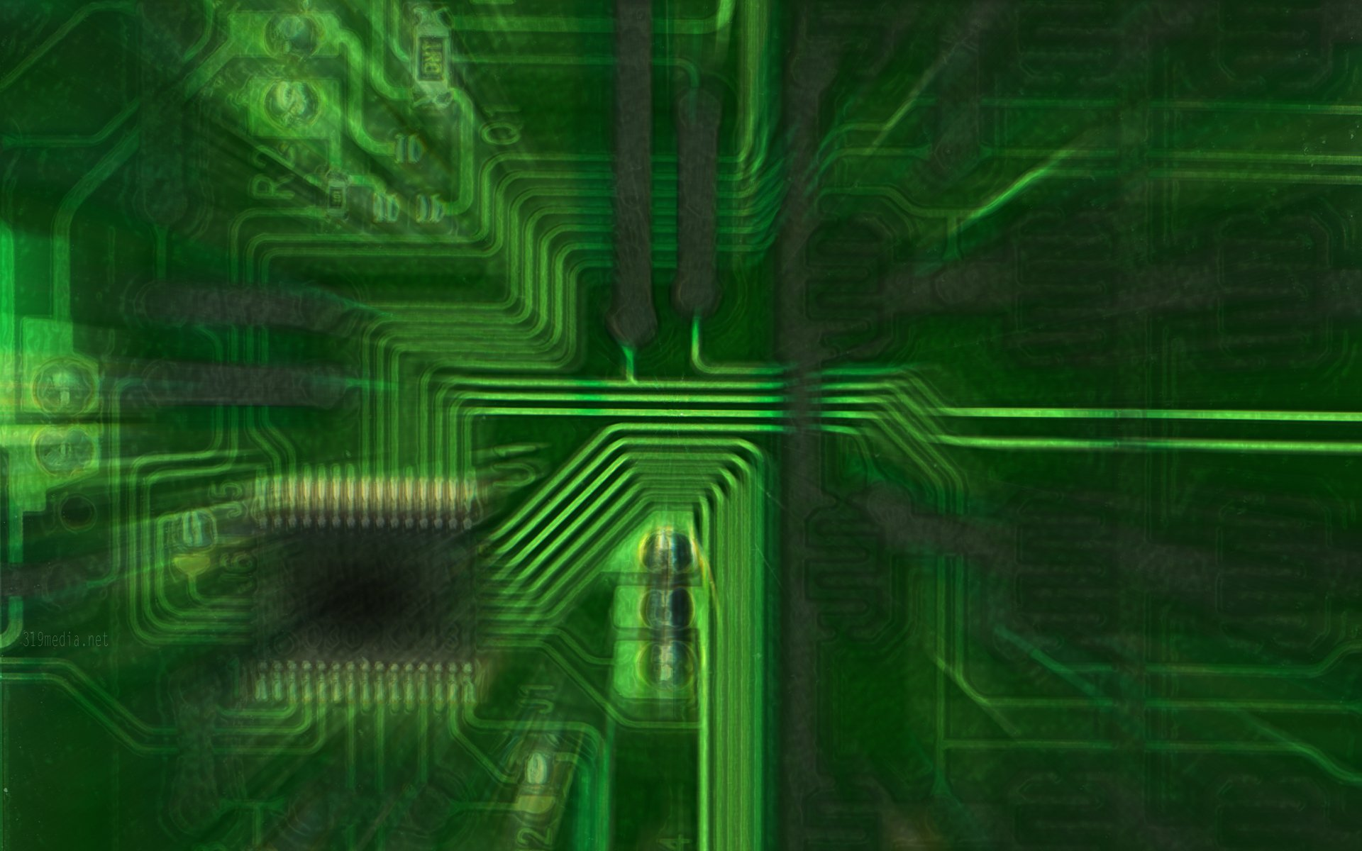 Technology - Circuit  Abstract Green Blur Computer Technology Wallpaper