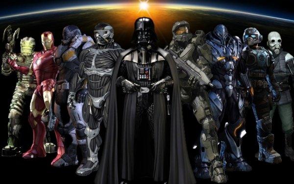Videojuego Collage Darth Vader Iron Man Fondo de pantalla HD | Fondo de Escritorio