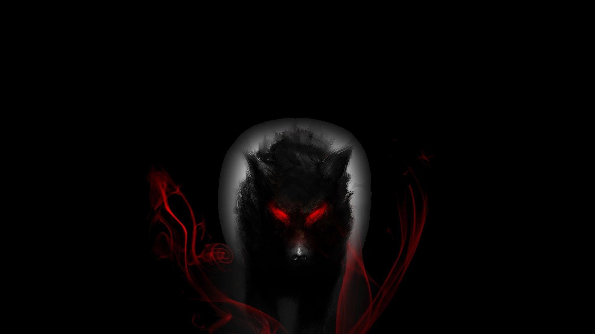 Black Wolf With Glowing Red Eyes Hd Wallpaper Background Image 1920x1080 Id 493414 Wallpaper Abyss