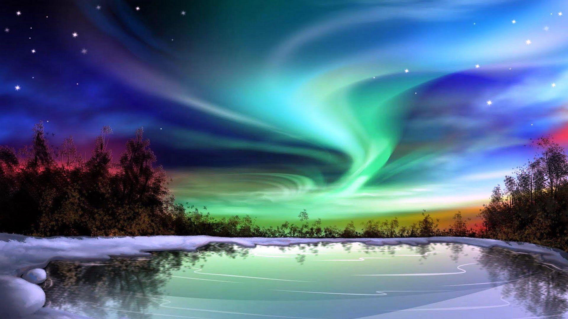 Northern lights on snow full hd fond d 39 cran and arri re for Aurora boreale sfondo