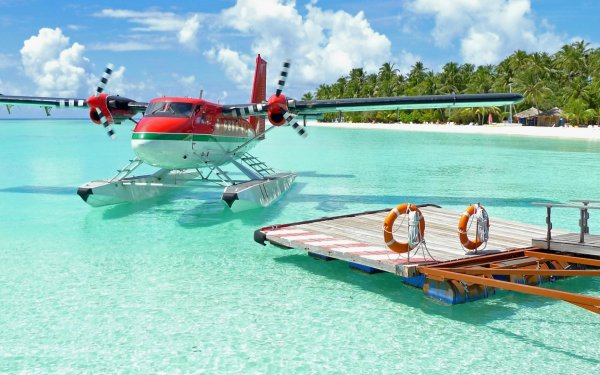 Vehicles Aircraft Airplane Resort Pier Beach HD Wallpaper   Background Image