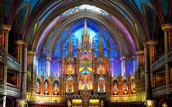 Religious Notre Dame Basilica in Montreal Basilicas  HD Wallpaper   Background Image