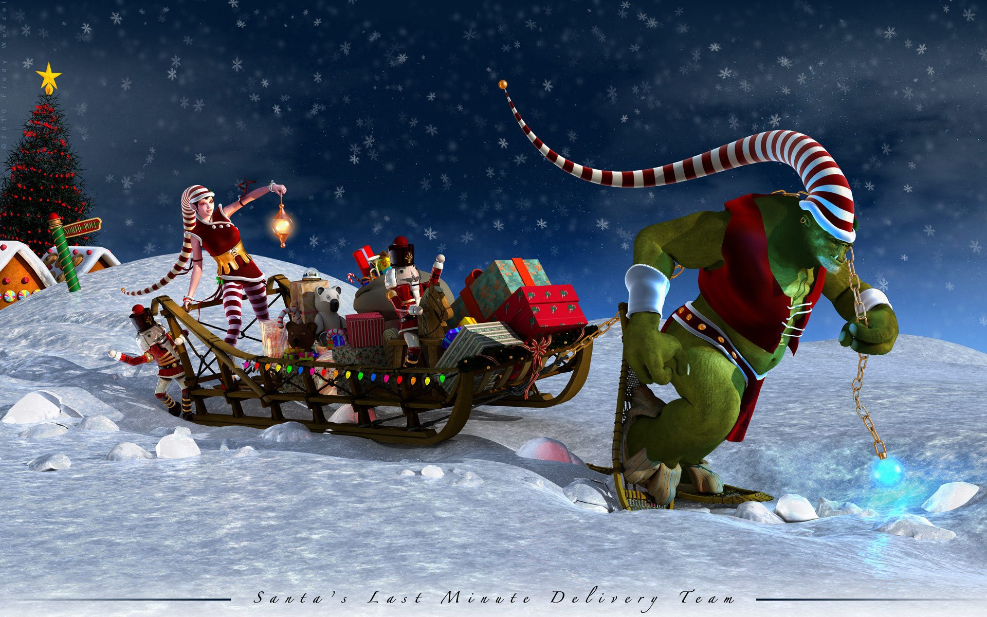Holiday - Christmas  Santa Hat Sleigh Orc Toy Wallpaper