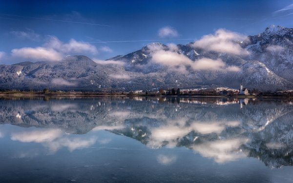 Earth Reflection Mountain Germany Bavaria Alps Lake Forggensee HD Wallpaper | Background Image