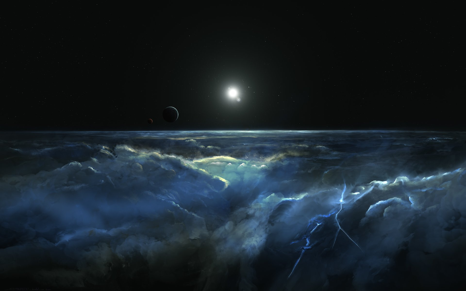 Sci Fi - Planetscape  Atmosphere Planet Space Cosmos Wallpaper