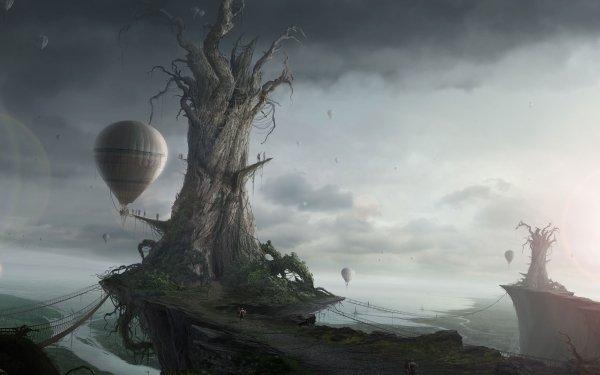 Fantasy Landscape Dark Gothic Sky Balloon HD Wallpaper | Background Image
