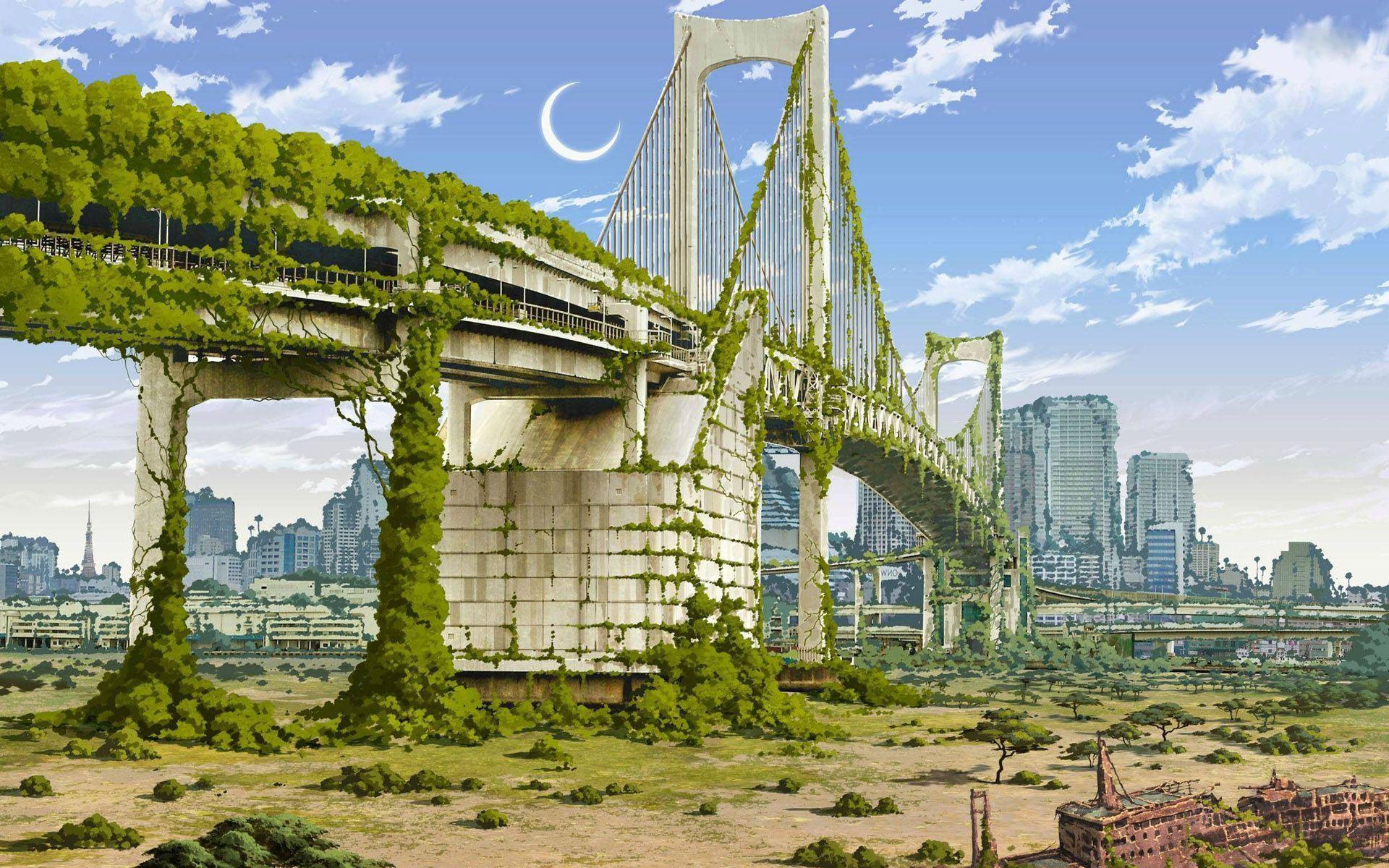 Post apocalyptic vikinglifeblog - Fantasy wallpaper bridge ...
