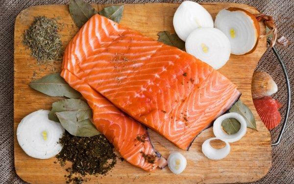 Food Fish Onion Salmon HD Wallpaper | Background Image