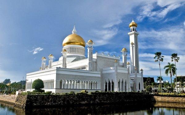 Religious Sultan Omar Ali Saifuddin Mosque Mosques Bandar Seri Begawan Brunei HD Wallpaper   Background Image