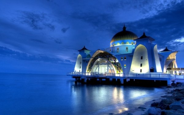 Religious Malacca Straits Mosque Mosques Malacca Mosque Malaysia HD Wallpaper | Background Image