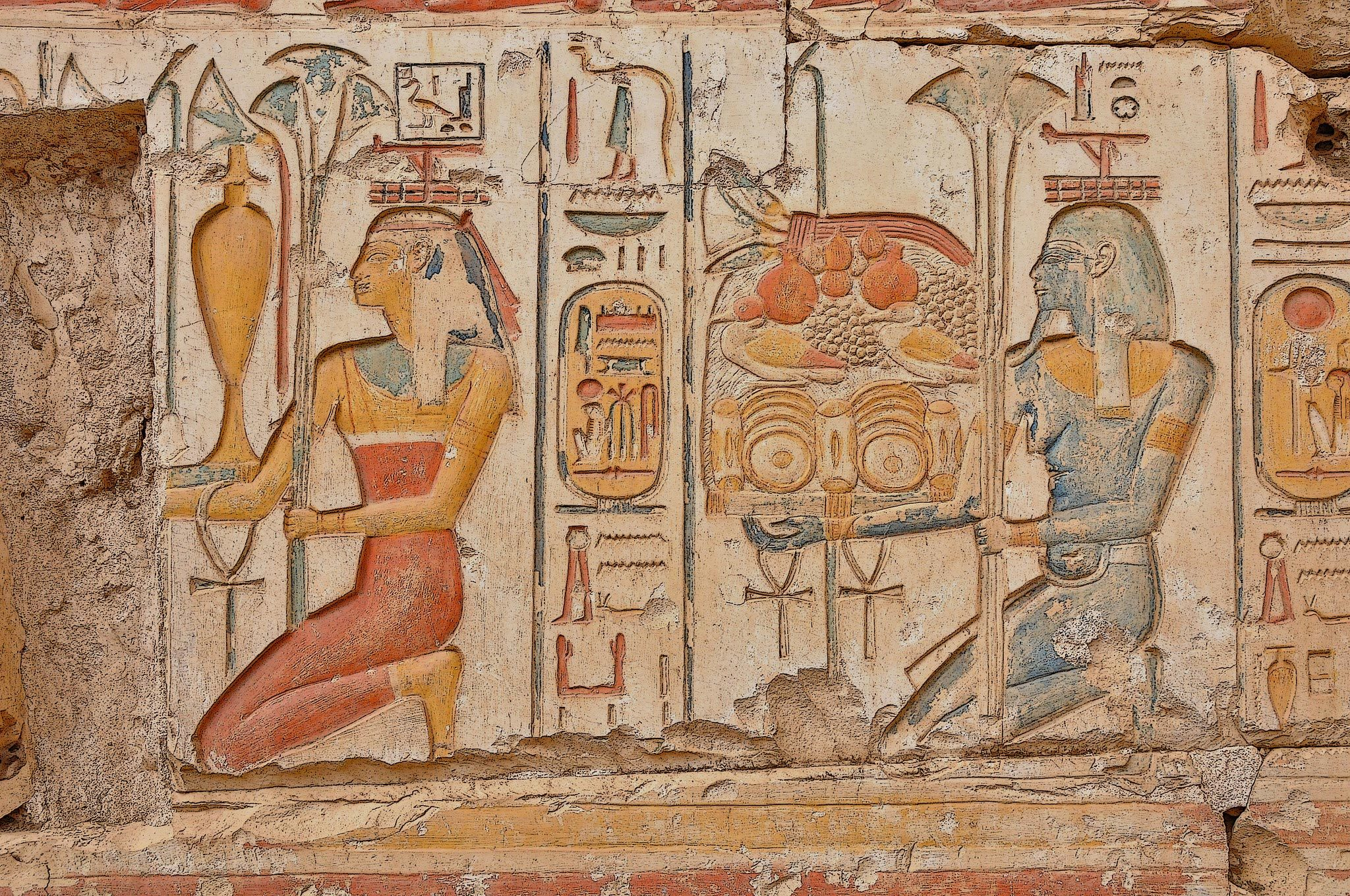 Egyptian wall carvings hd wallpaper background image