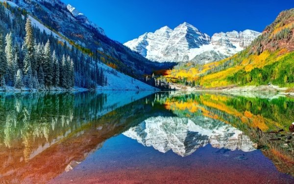 Earth Maroon Bells Mountains Mountain Reflection Snow Maroon Lake Colorado HD Wallpaper | Background Image