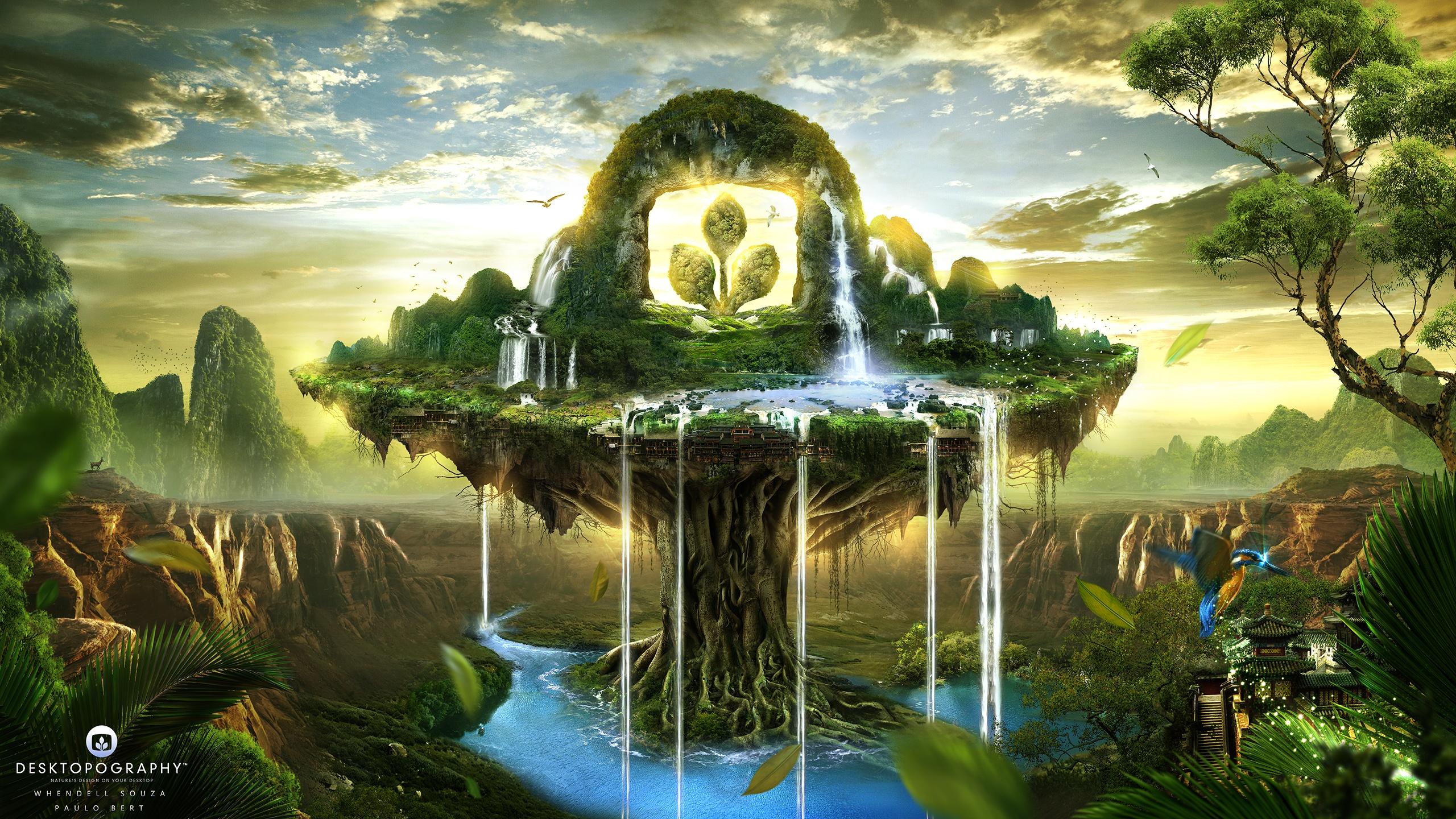 waterfall full hd bakgrund and bakgrund | 2560x1440 | id:546256