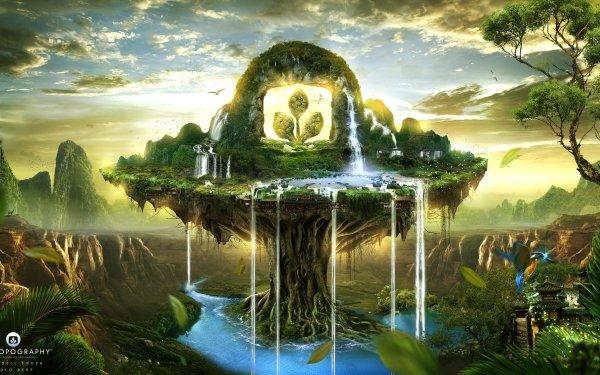 Artistic Desktopography Waterfall Fantasy Landscape HD Wallpaper   Background Image