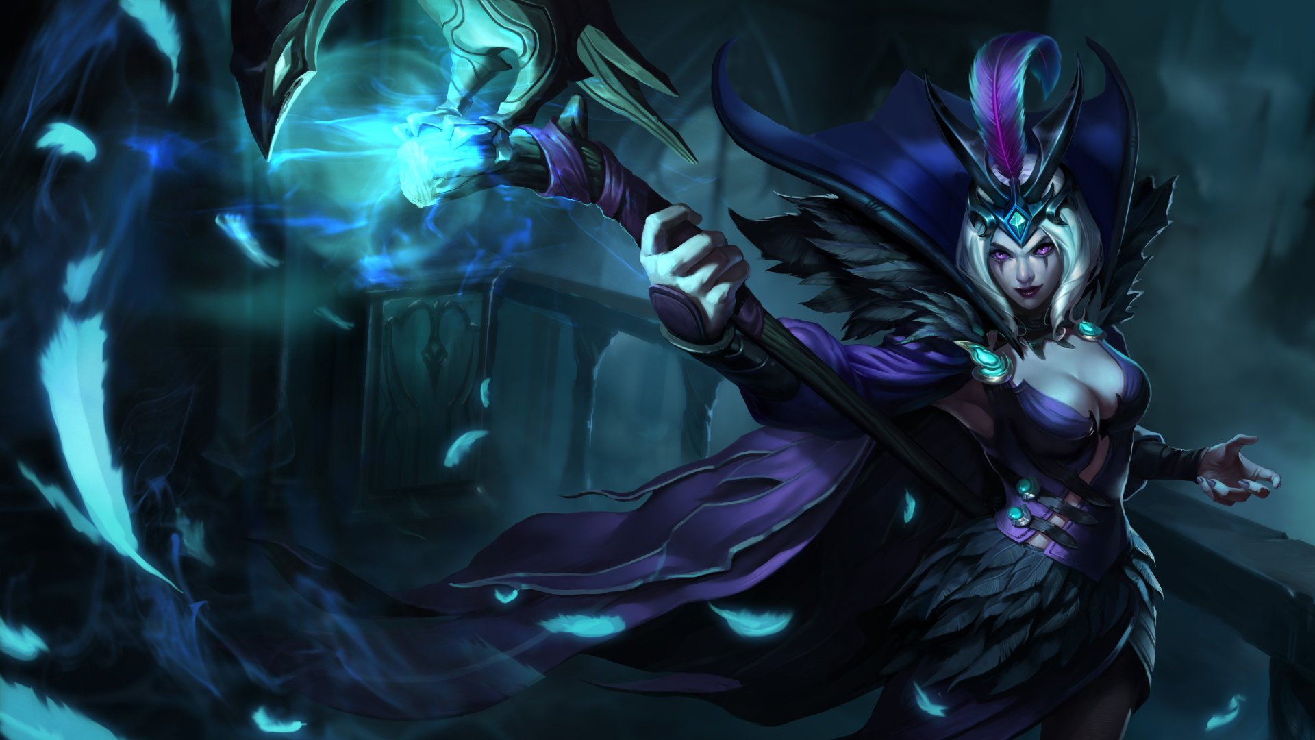 Video Game - League Of Legends  LeBlanc (League Of Legends) Purple Eyes Fantasy Woman Warrior Woman Warrior Blue Cape Feather Wallpaper