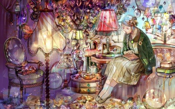 Anime Original Book Lamp Interior Evening HD Wallpaper | Background Image