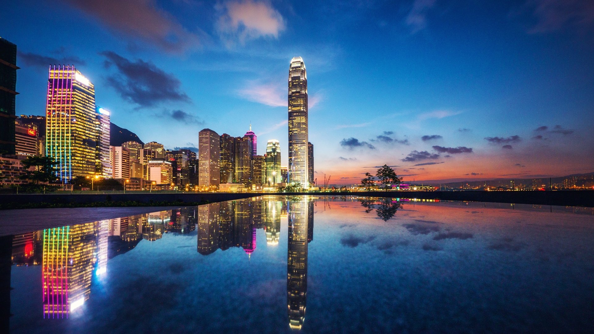 Man Made - Hong Kong  Cityscape Twilight Building Reflection Architecture Wallpaper