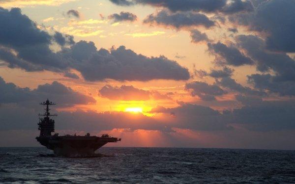 Military USS George Washington (CVN-73) Warships United States Navy Navy Ship Aircraft Carrier Sunrise Warship HD Wallpaper | Background Image