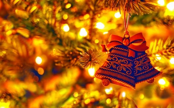 Holiday Christmas Blue Christmas Ornaments Bell HD Wallpaper | Background Image
