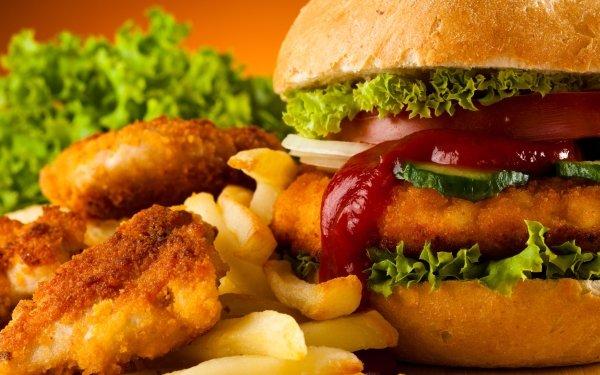 Food Burger Hamburger French Fries Nugget HD Wallpaper | Background Image