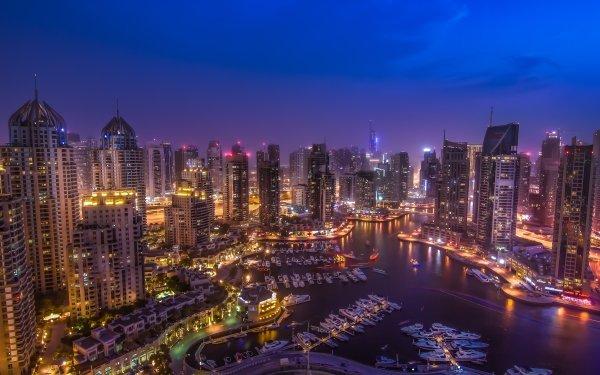 Man Made Dubai Cities United Arab Emirates Dubai Marina Night HD Wallpaper | Background Image