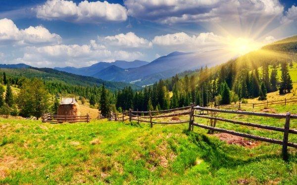 Tierra/Naturaleza Montaña Montañas Sunlight Granja Naturaleza Fondo de pantalla HD | Fondo de Escritorio