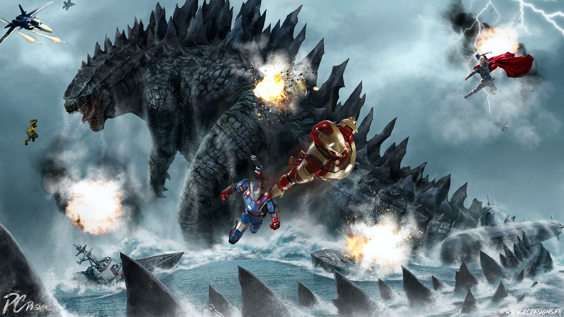 Godzilla Vs Avengers Hd Wallpaper Background Image 1920x1080