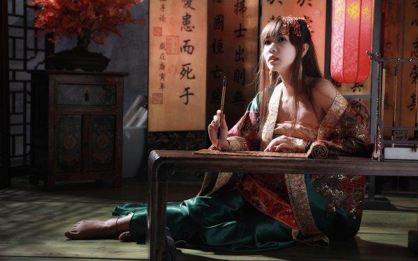 Women Sà Lín Models Taiwan Asian Calligraphy National Dress Bonsai Taiwanese HD Wallpaper | Background Image