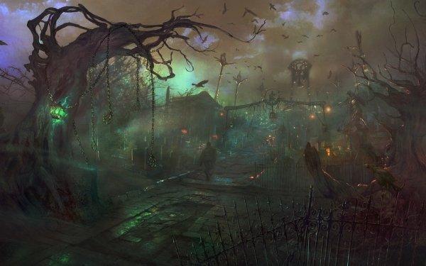 Fantasy Dark Cemetery HD Wallpaper | Background Image