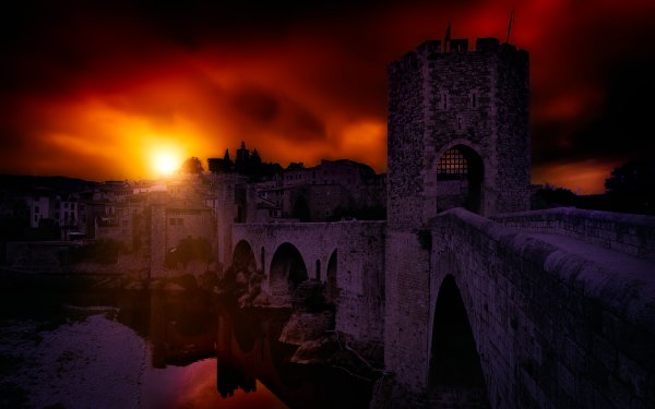 Photography Sunset Spain Catalonia Bridge Besalú HD Wallpaper | Background Image